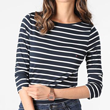 Tommy Hilfiger - Tee Shirt Manches Longues Femme Heritage Boat Neck 2042 Bleu Marine