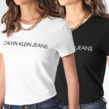 Calvin Klein - Lot De 2 Tee Shirts Femme Institutional Logo 6466 Noir Blanc