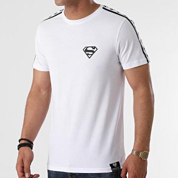 DC Comics - Tee Shirt BW Stripe Logo Blanc