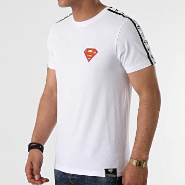 DC Comics - Tee Shirt Stripe Logo Blanc