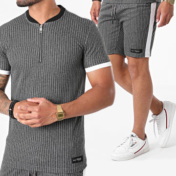 Ikao - Ensemble Short Tee Shirt A Rayures LL466 Gris Anthracite Chiné