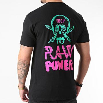 Obey - Tee Shirt Obey Raw Power Neon Noir