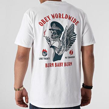 Obey - Tee Shirt Burn Baby Burn Blanc