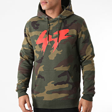 Samy Sana S47S - Sweat Capuche Camouflage 47 Vert Kaki Rouge