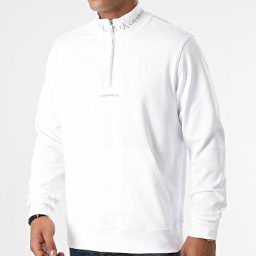 Calvin Klein - Sweat Col Zippé Logo Jacquard Mockneck 7321 Blanc