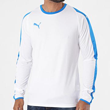 Puma - Tee Shirt De Sport Manches Longues A Bandes Liga Jersey 703419 Blanc Bleu