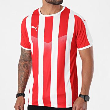 Puma - Tee Shirt De Sport Liga Jersey Striped 703424 Rouge Blanc