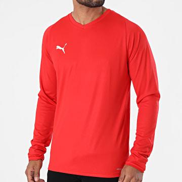 Puma - Tee Shirt De Sport Manches Longues Col V Liga Jersey 703621 Rouge