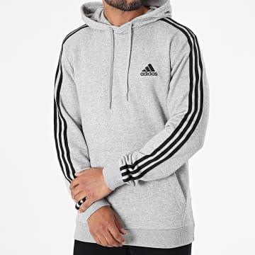 Adidas Performance - Sweat Capuche A Bandes 3 Stripes GK9080 Gris Chiné