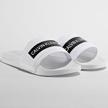 Calvin Klein - Claquettes Slide Tape Institutional 0257 Bright White