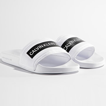 Calvin Klein - Claquettes Femme Slide Tape Institutional 0409 Bright White
