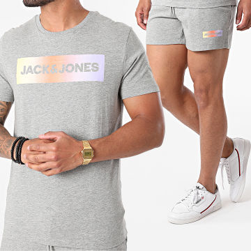 Jack And Jones - Ensemble Short Tee Shirt Brad Gris Chiné
