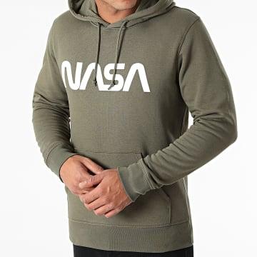 NASA - Sweat Capuche Worm Series Logo Khaki Blanc