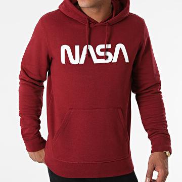 NASA - Sweat Capuche Worm Series Logo Bordeaux Blanc