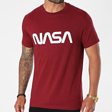 NASA - Tee Shirt Worm Series Logo Bordeaux Blanc