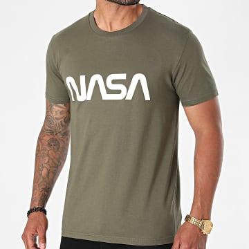 NASA - Tee Shirt Worm Series Logo Vert Kaki Blanc