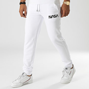 NASA - Pantalon Jogging Worm Series Logo Blanc Noir