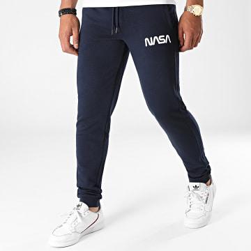 NASA - Pantalon Jogging Worm Series Logo Bleu Marine Blanc