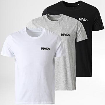 NASA - Lot de 3 Tee Shirts Simple Chest Logo Noir Blanc Gris Chiné