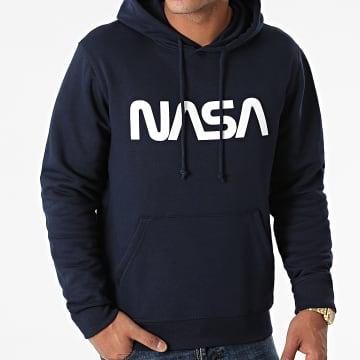 NASA - Sweat Capuche Worm Series Logo Bleu Marine Blanc