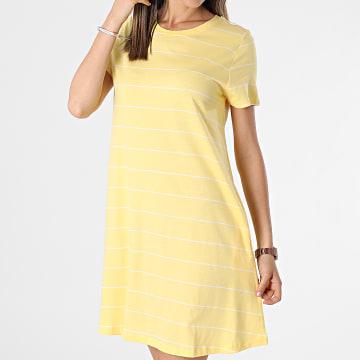 Only - Robe Tee Shirt Femme May Life Jaune Ecru
