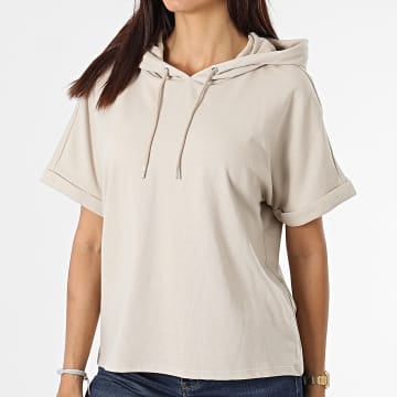 Only - Tee Shirt Capuche Femme Cindi Ivy Life Beige