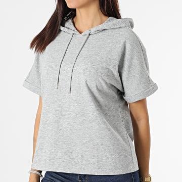 Only - Tee Shirt Capuche Femme Cindi Ivy Life Gris Chiné