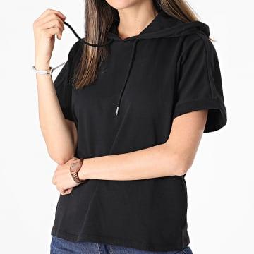Only - Tee Shirt Capuche Femme Cindi Ivy Life Noir