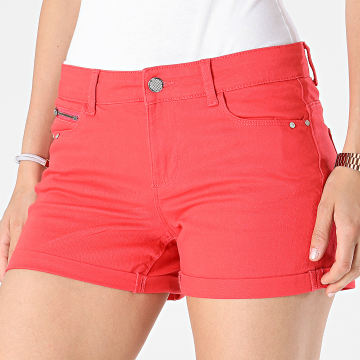 Only - Short Jean Skinny Claudia Femme Rouge