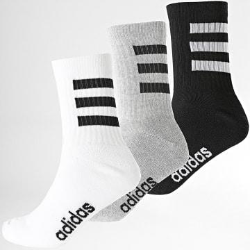 Adidas Performance - Lot De 3 Paires De Chaussettes 3 Stripes GE6167 Noir Blanc Gris Chiné