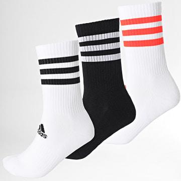 Adidas Performance - Lot De 3 Paires De Chaussettes 3 Stripes Cush Crew H27756 Blanc Noir