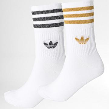 Adidas Originals - Lot De 2 Paires De Chaussettes Mid Cut Glitter H37063 Blanc Doré Argenté