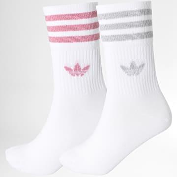 Adidas Originals - Lot De 2 Paires De Chaussettes Mid Cut Glitter H37063 Blanc Rose Argenté