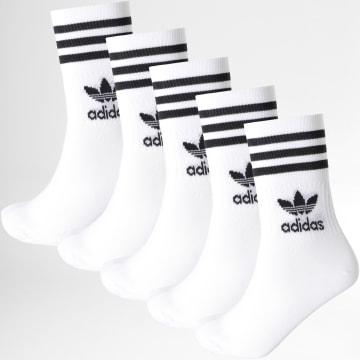 Adidas Originals - Lot De 5 Paires De Chaussettes Mid Cut Crew H65458 Blanc