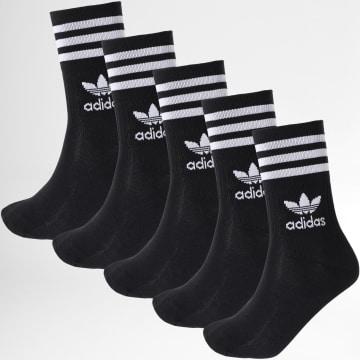 Adidas Originals - Lot De 5 Paires De Chaussettes Mid Cut Crew H65459 Noir