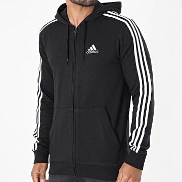 Adidas Performance - Sweat Zippé Capuche A Bandes 3 Stripes GK9032 Noir