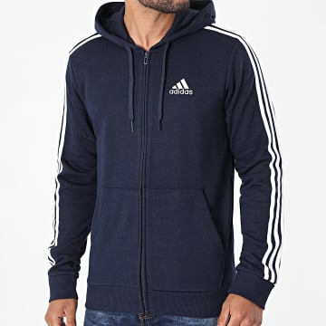 Adidas Performance - Sweat Zippé Capuche A Bandes 3 Stripes GK9033 Bleu Marine
