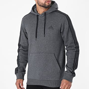 Adidas Performance - Sweat Capuche A Bandes 3 Stripes GK9082 Gris Anthracite Chiné