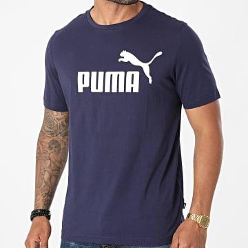 Puma - Tee Shirt Essential Logo Bleu Marine