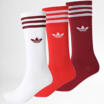 Adidas Originals - Lot De 3 Paires De Chaussettes Solid Crew H32331 Rouge Bordeaux Blanc