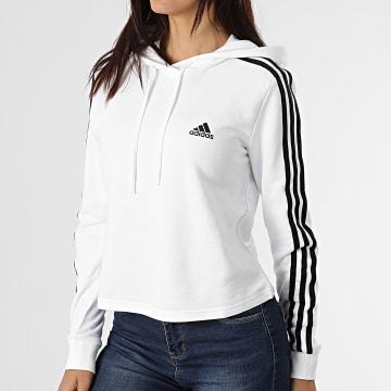 Adidas Performance - Sweat Capuche Femme A Bandes 3 Stripes GM5574 Ecru