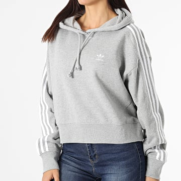 Adidas Originals - Sweat Capuche Femme A Bandes Short H34615 Gris Chiné