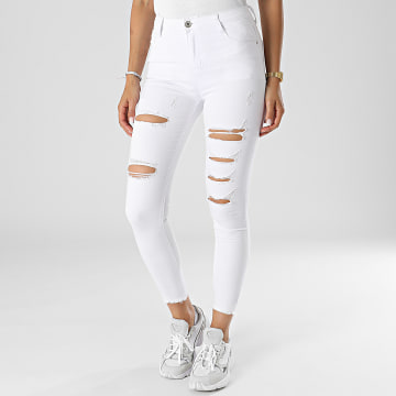 Girls Outfit - Jean Skinny Femme C9051 Blanc