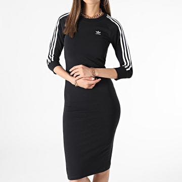 Adidas Originals - Robe Sweat Femme A Bandes 3 Stripes H38732 Noir