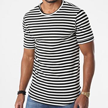 Frilivin - Tee Shirt Oversize A Rayures 15238 Blanc Noir