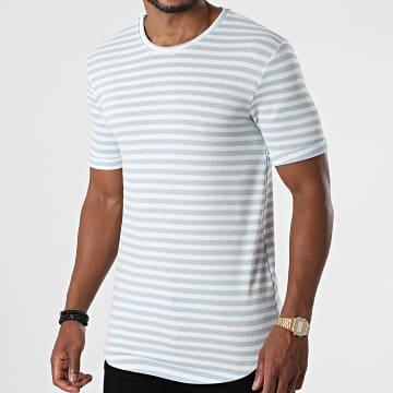 Frilivin - Tee Shirt Oversize A Rayures 15238 Blanc Bleu Ciel
