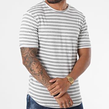 Frilivin - Tee Shirt Oversize A Rayures 15238 Blanc Gris