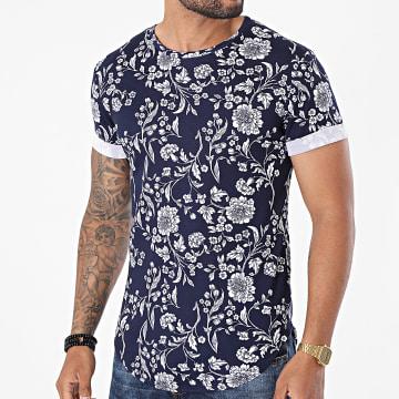 Frilivin - Tee Shirt Oversize Floral U5117 Bleu Marine Blanc