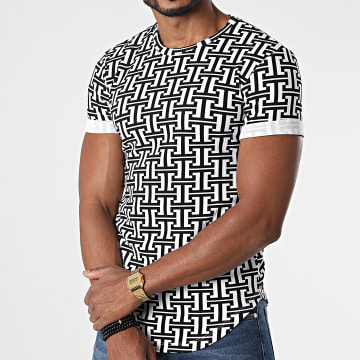 Frilivin - Tee Shirt Oversize U5449 Blanc Noir