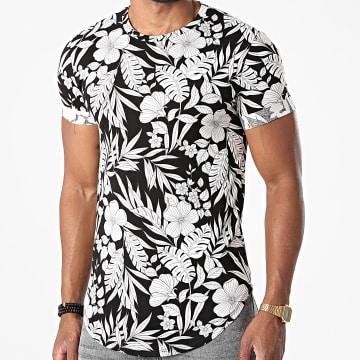 Frilivin - Tee Shirt Oversize T1712 Noir Blanc Floral